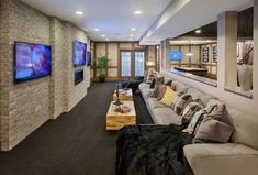 Contemporary Home Theater with interior brick, High ceiling, Carpet, Columns, FLOR - Made you Look - Sable