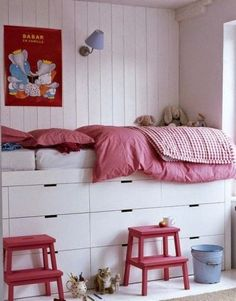 Nordli IKEA hack - Not Your Mom's Underbed Storage: 10 Creative Ways to Make More Space in Your Bedroom Bedroom Storage Ideas For Clothes, Bedroom Storage For Small Rooms, Kids Bedroom, Bedroom Apartment, Apartment Therapy, Bedroom Ideas, Bedroom Office, Apartment Kitchen, Office Decor