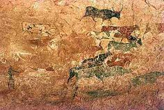 rare poly chomatic painting from the Tasili-n-ajjer.  From the Bovidian phase.