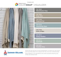 I found these colors with ColorSnap® Visualizer for iPhone by Sherwin-Williams: Westchester Gray (SW 2849), Gray Area (SW 7052), Elephant Ear (SW 9168), Interesting Aqua (SW 6220), Drift of Mist (SW 9166), Dusty Heather (SW 9073), Quietude (SW 6212), Swanky Gray (SW 6261).