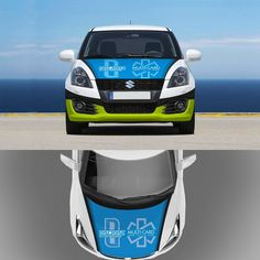 I need a creative full body wrap designed for a 2008 4-Door Suzuki Swift, incorporating my two logos (or company names), by CreativeBomb