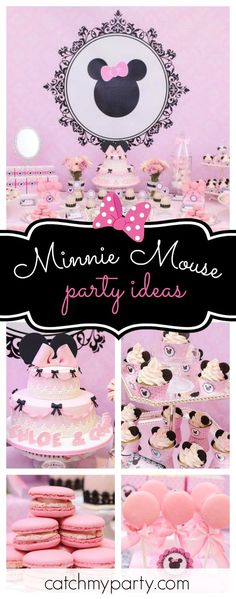 Don't miss this gorgeous Minnie Mouse 1st birthday for twins! The dessert table is so pretty!! See more party ideas and share yours at CatchMyParty.com #minniemouse #1stbirthday