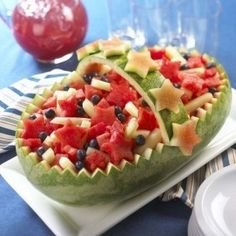 Fourth of July-Food ideas-Watermelon basket with fruit salad