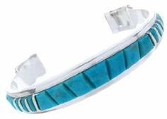 Southwest Silver And Turquoise Inlay Jewelry Bracelet AW66663 SilverTribe. $199.99
