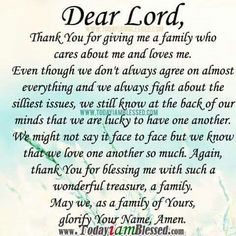 Prayer to God for your family