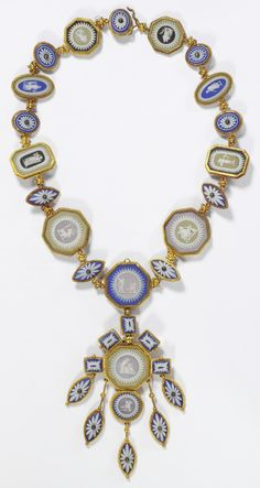 A Victorian gold necklace with Wedgwood medallions, from a parure, England, the…