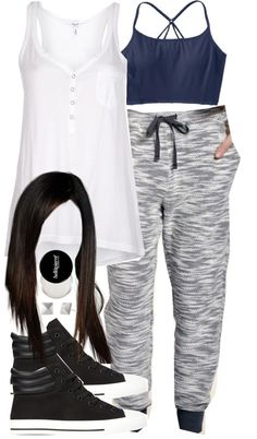 Cora Inspired Outfit with Requested Joggers by veterization featuring feather stud earrings Splendid jersey shirt / Athleta clothing / Forever 21 high top sneaker / Stella & Dot feather stud earrings...