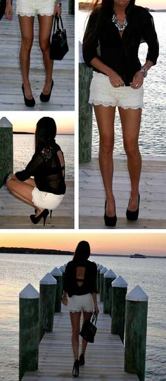 sheer blouse and lace shorts. Makes me want to take pics like this on our dock!