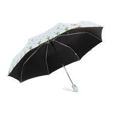Folding Umbrella Rain Women Top Quality Automatic Sun Umbrellas Anti UV Cute Cartoon Pattern Portable Black Coating 8K Parasol