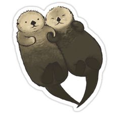 Significant Otters - Otters Holding Hands Sticker Very Cute Water Bottle Laptop Phone Tumbler Car Vi Love Stickers, Printable Stickers, Laptop Stickers, Diy Stickers, Otter Tattoo, Otters Holding Hands, Significant Otter, Otter Love, Hand Sticker