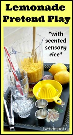 Lemonade Pretend Play with Scented Sensory Rice at Twodaloo  - Pinned by @PediaStaff – Please Visit ht.ly/63sNtfor all our pediatric therapy pins