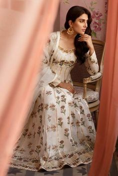 White cotton net floor length Anarkali with jewel-tone block printing enhanced with gota detailing. Paired a block printed organza dupatta. Pakistani Dresses Casual, Pakistani Wedding Dresses, Indian Dresses, Indian Outfits, Pakistani Clothing, Wedding Hijab, Ayeza Khan, Mahira Khan, Fancy Blouse Designs
