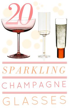 20 Sparkling Champagne Glasses + My Favorite Champagne Cocktail Recipes #champagne #flutes #coupes #drinks #recipes #cocktail #champagnecocktail #champagneflutes #champagneglasses #glassware #champagnecoupes