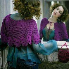 Stylish Easy Crochet: Crochet Lace - Shawl Wrap or Capelet - Simple and Easy ༺✿ƬⱤღ  http://www.pinterest.com/teretegui/✿༻