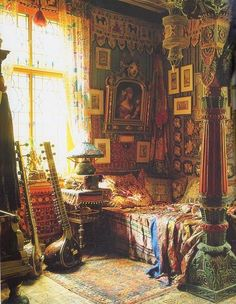 Bohemian bedroom with Sitar