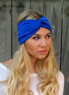 Wide Turban Headband Knotted Head Wrap Blue Headband All Around Stretch  Yoga Headband Running Women s Hair Accessory or Choose Your Color 7ed061079b