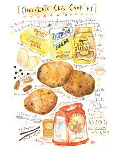 Kitchen art, Cookies print, Food poster, Watercolor, Recipe print, 11X14, chocolate, tan. $38.00, via Etsy.