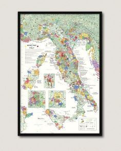 Wine Map of Italy Framed Framed Maps, Framed Prints, Italy Map, Vintage Wine, Us Map, Fine Wine, Frame Shop, Vintage World Maps, Things To Sell