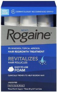 Rogaine for Men Hair Regrowth Treatment, 5% Minoxidil Topical Aerosol, Easy-to-Use Foam, 2.11 Ounce.  Men's ROGAINE Foam is easy to use--and best of all, it works. Make ROGAINE Foam part of your everyday regimen and feel proud of your hair again. ROGAINE Foam goes on easily and dries quickly. In clinical testing, it regrew hair in 85% of men after four months when used twice daily.