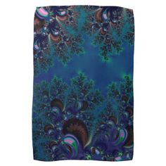 Midnight Blue Frost Crystals Fractal Hand #Towels...#kitchenware  #kitchen  #dining   #home decor #interior decoration #food  #dining room #drink #accessories #dishes #dishware #fractals #abstracts #digitalart