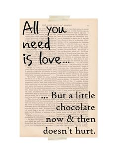 love quote art print - All You Need is Love & Chocolate - dictionary art print