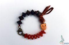 Hoot Hoot única pulsera en tonos marrones con por esferajewelry
