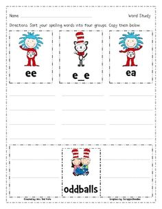 ... TPT on Pinterest | Word sorts, Homework sheet and Word work stations