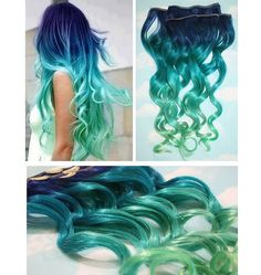 Blue Lagoon, Blue Green Ombre Dip Dyed Human Hair Extensions, Full Set Clip In Extensions, Hippie, Festival, Tye Dye Hair, Hair Weft on Wanelo