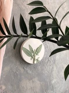 "Green botanical bas relief country house decoration by DinaArtDecor. White small round plate ""Sage"" wall kitchen decor. Clay art tile farmhouse wall decor. This painted green round panel is perfect if your kitchen, porch or grill house is decorated in a rustic style"