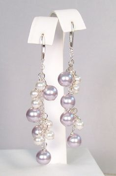 Lavender & White Chandelier Pearl Earrings - Wedding Jewelry - Bridesmaid Chandeliers. $41.00, via Etsy.