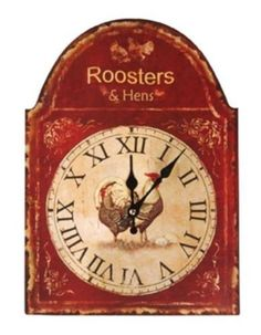 Manual Woodworkers & Weavers Roosters and Hens Distressed Look Wall Clock, 10 by 14-Inch by Manual Woodworkers & Weavers, http://www.amazon.com/dp/B005IME7YU/ref=cm_sw_r_pi_dp_PbyLrb165K2W7