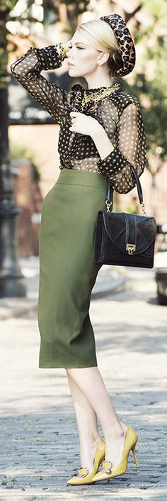 Lanvin: Black/Yellow polka dots and Olive Green Pencil Skirt, Leopard-print hat Vintage Inspired