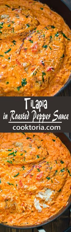 This Tilapia in Roasted Pepper Sauce is absolutely scrumptious, elegant and wort. - This Tilapia in Roasted Pepper Sauce is absolutely scrumptious, elegant and worthy of a special occ - Yummy Recipes, New Recipes, Dinner Recipes, Cooking Recipes, Favorite Recipes, Healthy Recipes, Flour Recipes, Tilapia Recipes, Gourmet