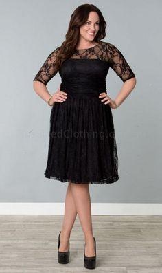 Black Lace 3 Quarter Length Sleeve Dress