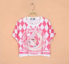 2014 harajuku women's Pretty Soldier Sailor Moon cartoon print quilted cropped t shirts candy color $10.92