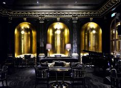 Beaufort Bar at the Savoy in London. Love the symmetry.