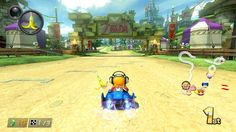 a splatoon character in an f zero car on a zelda track in a mario game