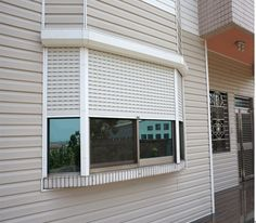 Rolling Shutter Window- controlled by remote. Roller Shutters, Window Shutters, Roll Down Hurricane Shutters, Silver Curtains, Security Shutters, Rolling Shutter, Best Insulation, Aluminium Windows, Shutter Doors
