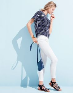 MAR '15 Style Guide: J.Crew women's rolled sleeve in jet-set geo top, lookout high-rise crop jean in white, Parker crossbody bag, and callista gladiator sandals.