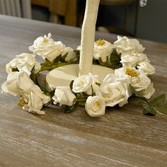 Cream Rose Wreath Decoration - Melody Maison®Cream Rose Wreath Decoration.   Artificial Rose wreath in cream.   For home or wedding door or table centre decor.   39cms in diameter