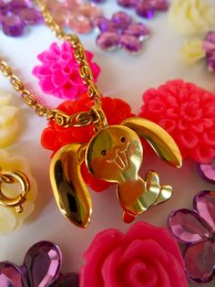 I had one when I was little!! Avon Bunny Necklace Child Necklace Kids Vintage by LemonRoseStudio