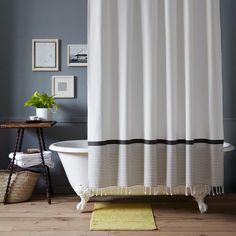 Stripe Border Shower Curtain - Stone White/Platinum | West Elm