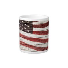 Painted American Flag on Rustic Wood Texture Extra Large Mugs by #RedWhiteAndBlue #patriotic