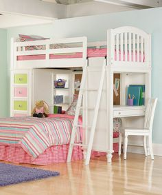 Vanilla Pawsitively Yours Bed & Nightstand by Pulaski - Ooohhh LOVE THIS for the twins. Drawers, desk, everything. Perfect for a small, shared room.