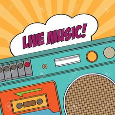 boombox : musical background with retro boom-box, vector illustration
