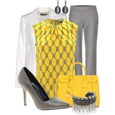 """Gray & Yellow"" by justbeccuz on Polyvore"