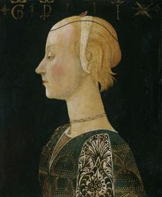 Portrait of a Lady, Unknown artist from Scheggia, Italy, 1440-50's, Philadelphia Museum of Art. Scheggia was part of the Papal States however the fashion is very similar to Milanese fashion.
