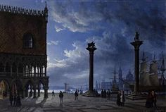 View Piazza San Marco by moonlight Attributed to Friedrich Nerly; oil on canvas; Access more artwork lots and estimated & realized auction prices on MutualArt. Nocturne, Moonlight Painting, Watercolor Pictures, Italian Painters, Friedrich, Dream City, Cool Artwork, Amazing Art, Venice
