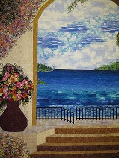 """""""Oceanview"""" Pieced by Beth Nufer and quilted by Shelley Knapp.  Photo by Dawn N. at Dawn's Quilt Corner."""