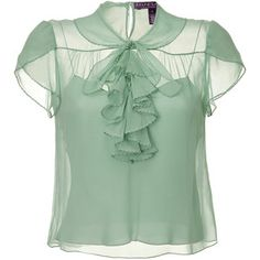 Ralph Lauren Collection Pale Seafoam Single Georgette Dapne Top in Green Fashionista Trends, Green Blouse, Green Dress, Top Chic, Formal Blouses, Formal Shirts, Sheer Shirt, Ralph Lauren Collection, Style Me